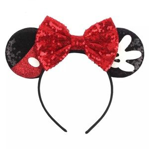 Minnie & Mickey Mouse Sequin Headband with Bow